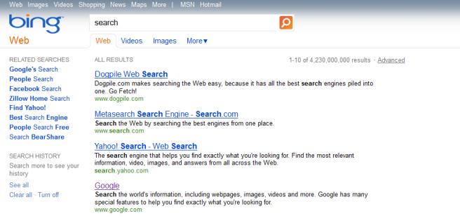 Bing Search Fail